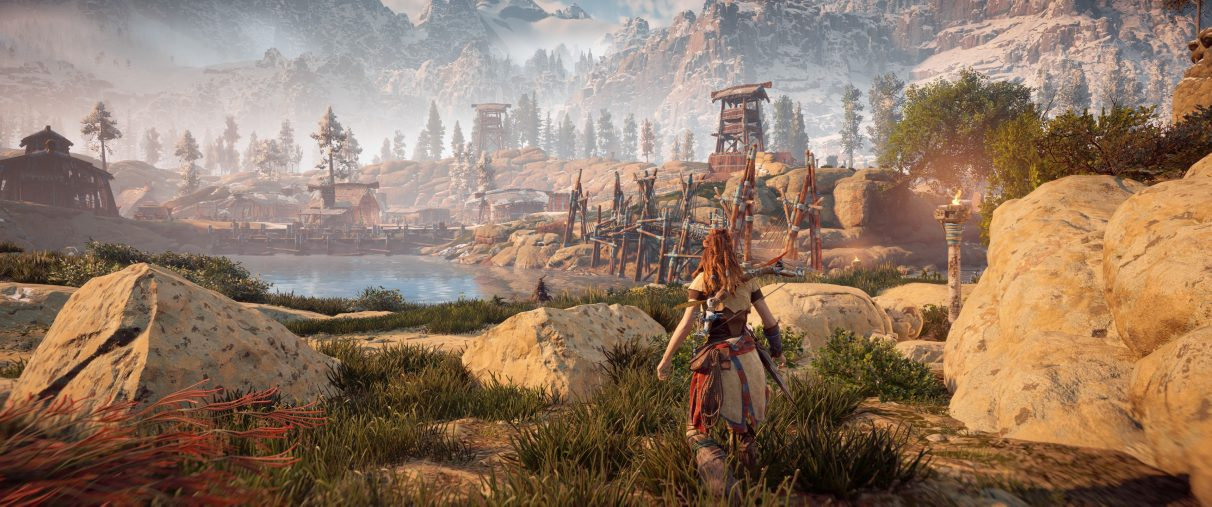 An ultrawide screenshot of Horizon Zero Dawn with no HUD settings onscreen at all.
