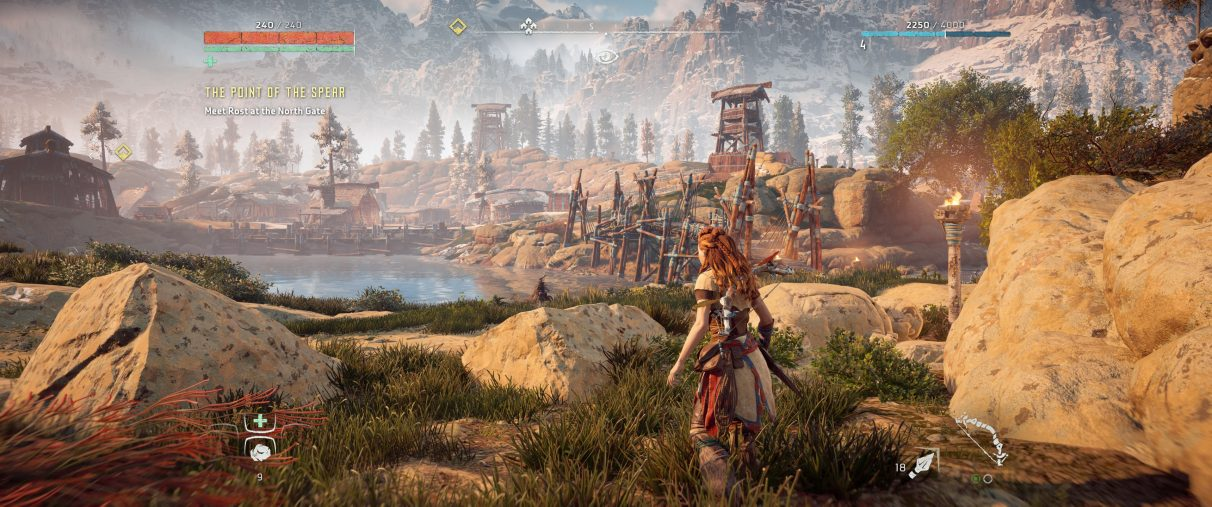 An ultrawide screenshot of Horizon Zero Dawn's HUD settings set to their original 16:9 position.