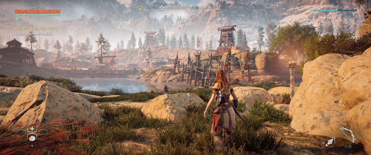 An ultrawide screenshot of Horizon Zero Dawn's HUD settings, which are automatically set to appear at the edges of the screen.