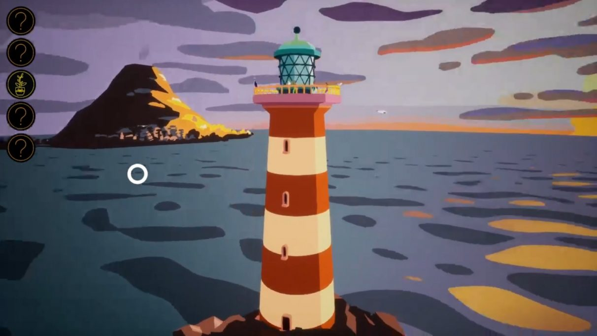 A lighthouse, with an island in the background, with a town ringing a large volcano.