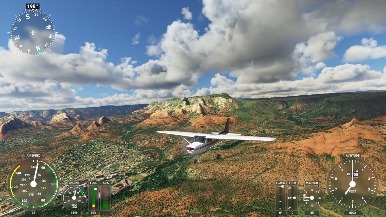 A screenshot of Microsoft Flight Simulator 2020 on its High-end graphics setting