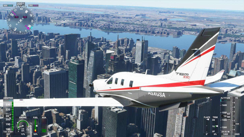 A screenshot of New York City in Microsoft Flight Simulator 2020 on its High-end graphics setting