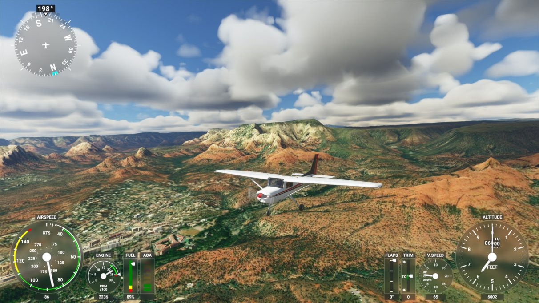 A screenshot of Microsoft Flight Simulator 2020 on its Low-end graphics setting