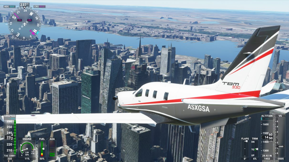 A screenshot of New York City in Microsoft Flight Simulator 2020 on its Low-end graphics setting
