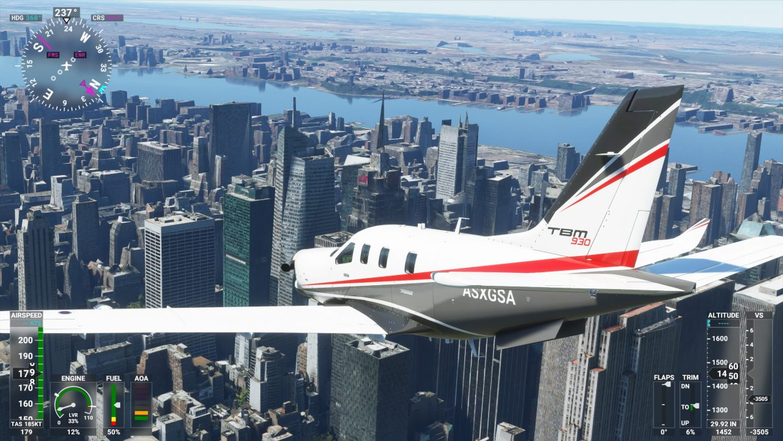 A screenshot of New York City in Microsoft Flight Simulator 2020 on its Medium graphics setting