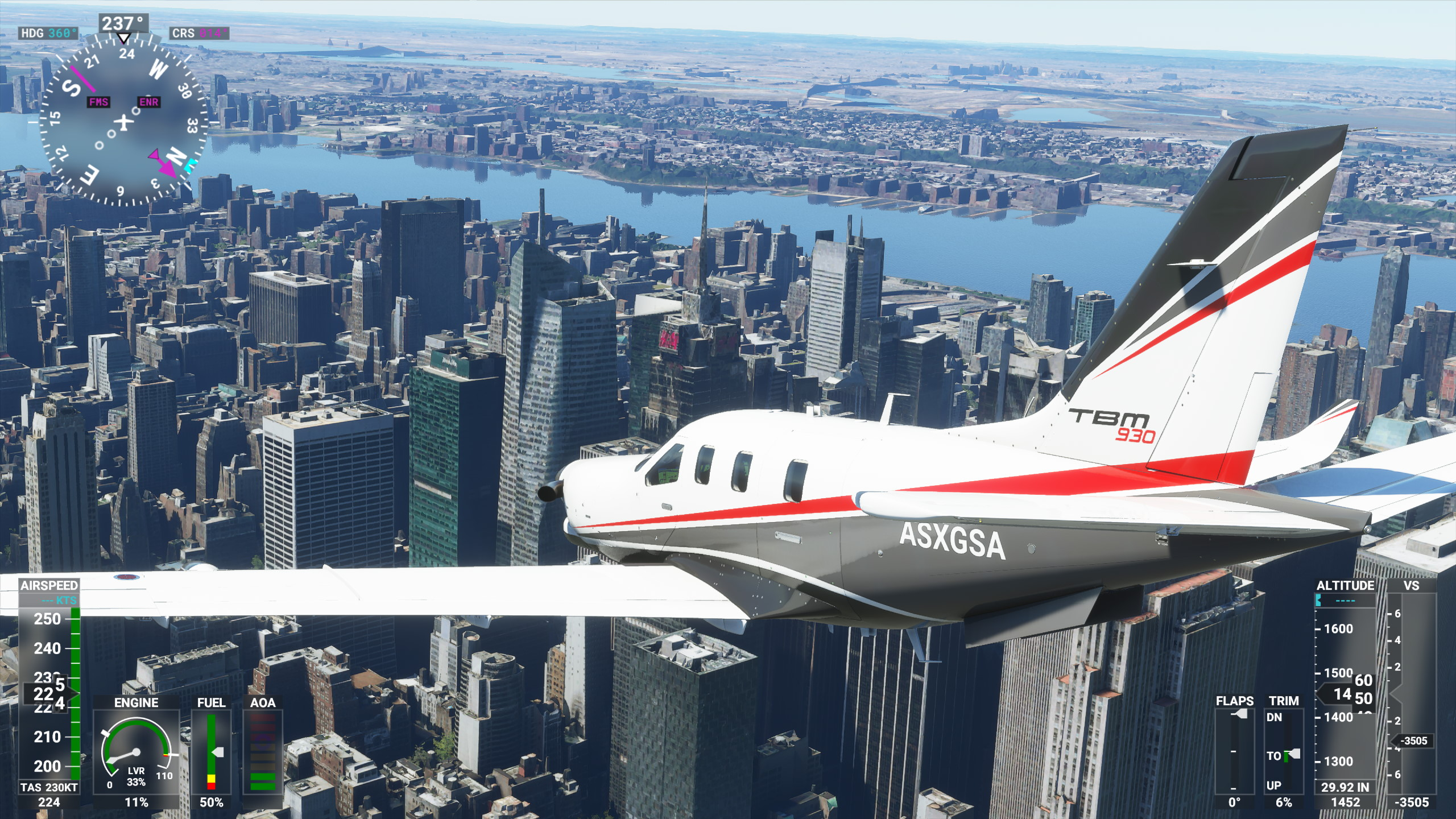 A screenshot of New York City in Microsoft Flight Simulator 2020 on its Ultra graphics setting