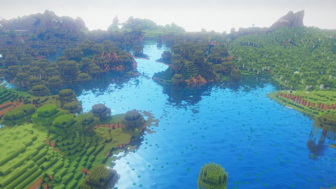 A screenshot of a Minecraft world with Oceano Shaders active, giving Minecraft's water surfaces a much-needed makeover.