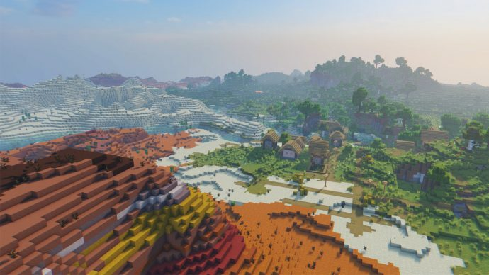 A screenshot of projectLUMA Shaders in action, giving the Minecraft sky a much more photorealistic look.