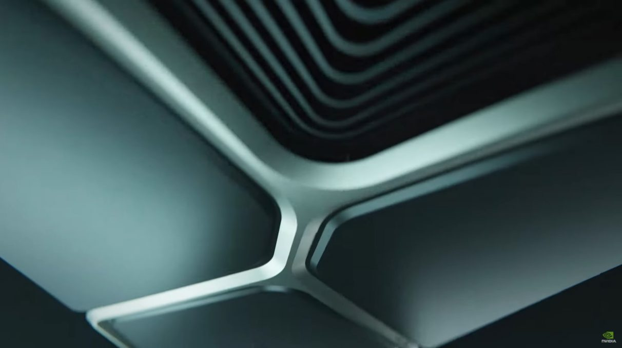 A teaser image of Nvidia's new Ampere RTX 3000 GPUs.