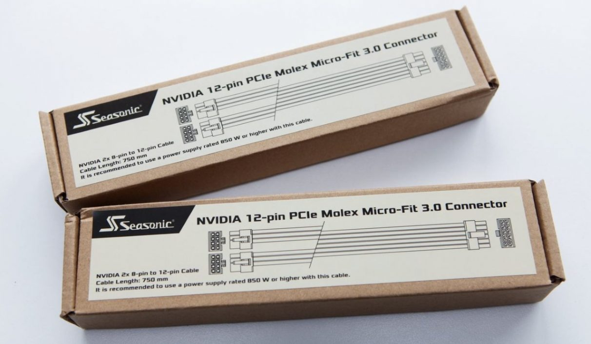 A photo showing Seasonic's Nvidia 12-pin power connector adapter kits