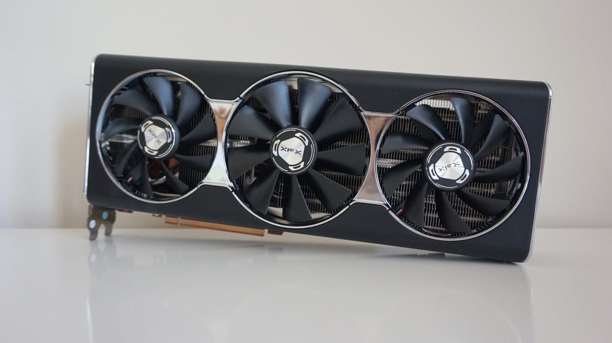 A photo of the XFX Radeon RX 5700 XT Thicc Ultra III graphics card.