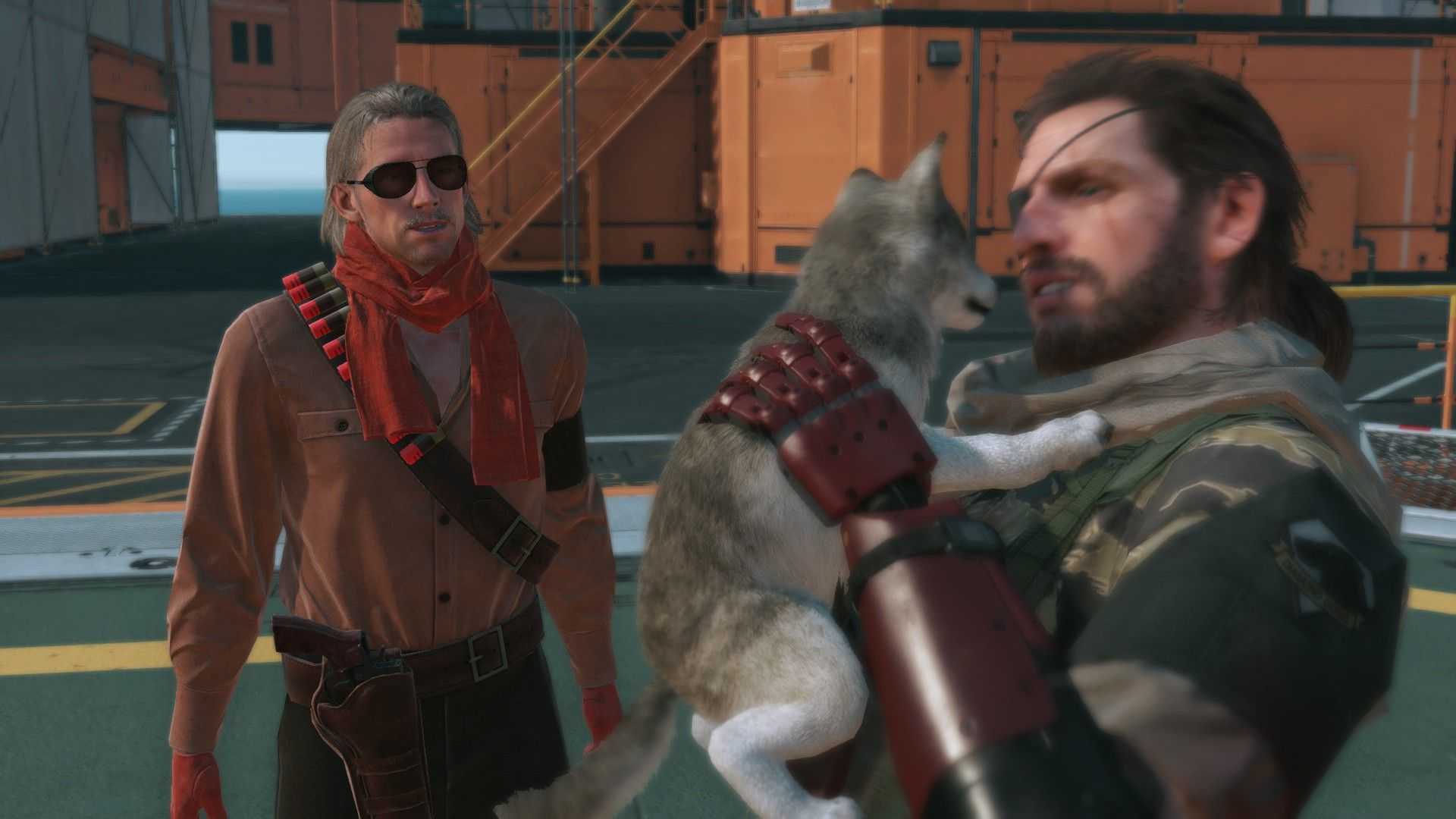 A screenshot from Metal Gear Solid 4 showing Solid Snake holding a puppy Diamond Dog - a scruffy little grey and white wolfy scrap. Snake looks very happy.