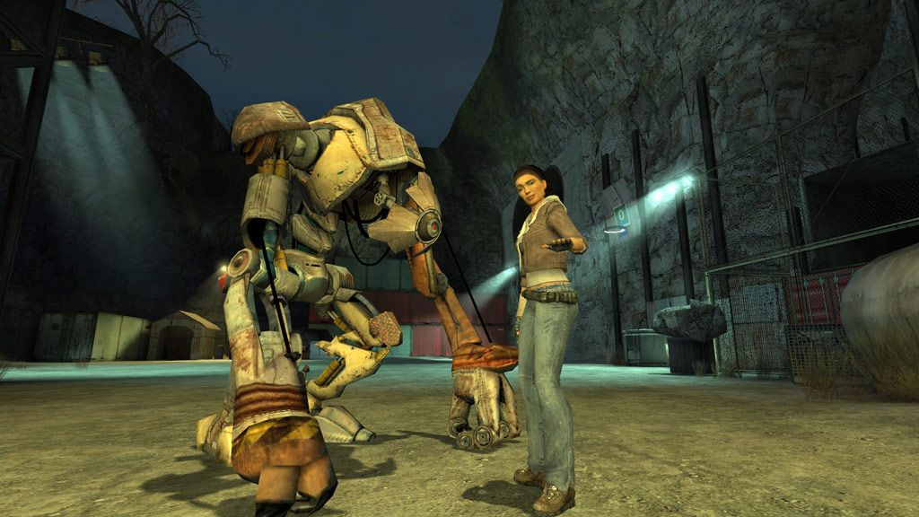 A screenshot from Half Life 2 showing Alyx Vance, a normal human woman, with her dog Dog, which is a giant robot that stands on two feet and rests its big robot knuckles on the ground. It is not a dog.