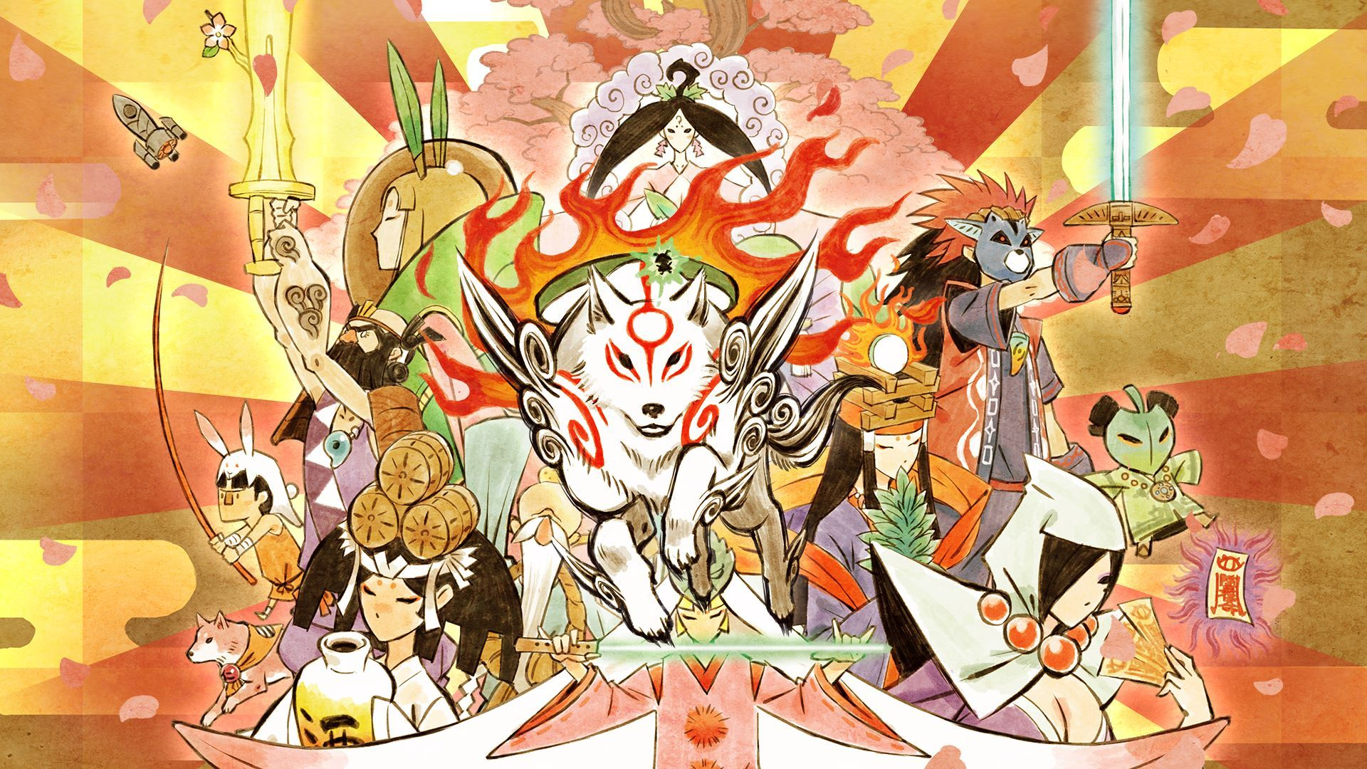 A piece of art for Okami, showing a montage of characters with Amaterasu at the centre - a beautiful white wolf-type dog with swirls of red on her face and shoulders. She trails a nimbus of fire.