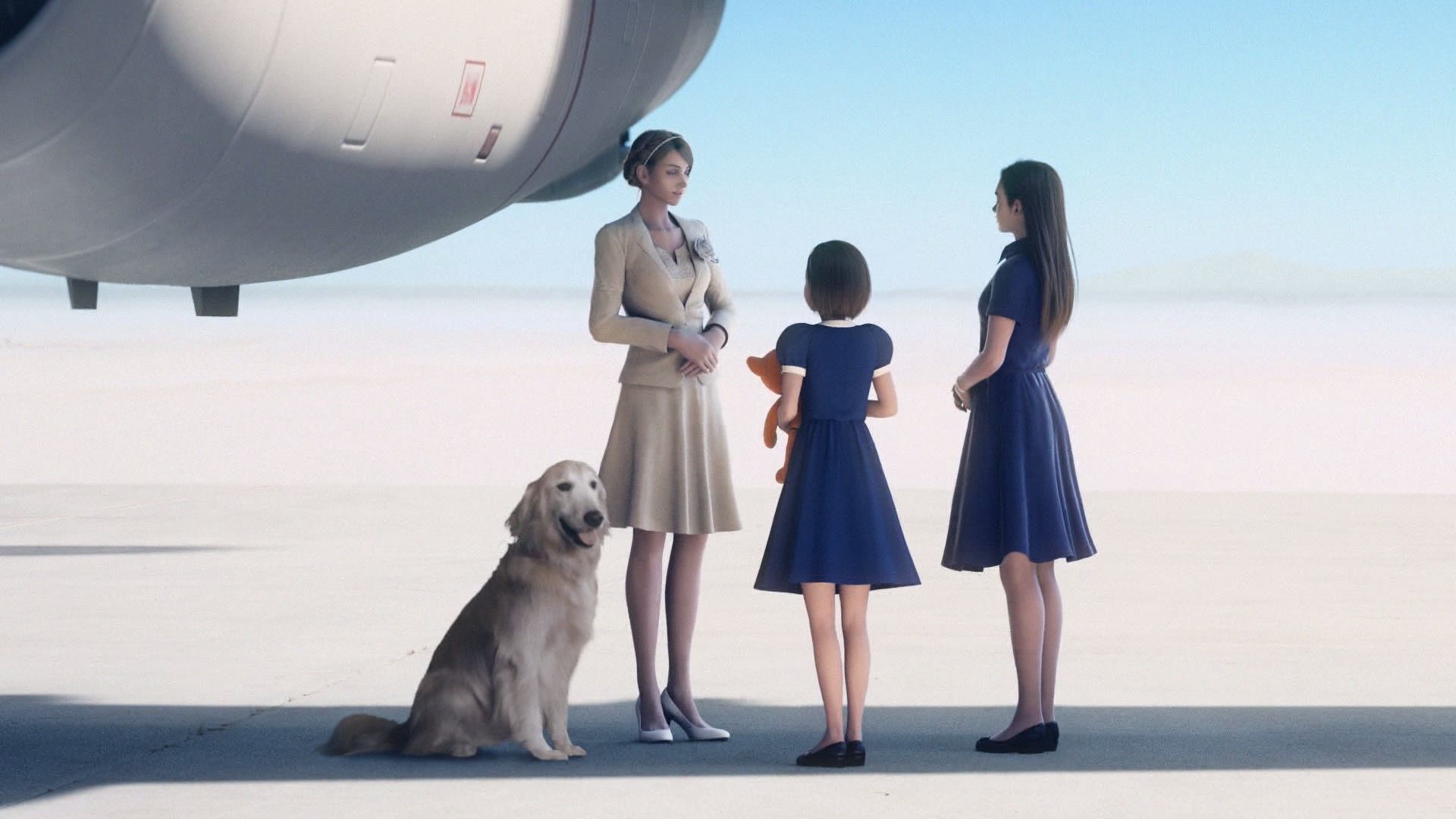 A screenshot from Ace Combat 7 showing three women, one a young girl holding a toy, another perhaps a teenager, and the third an adult woman in a beige skirt two piece. They are standing on a runway in front of the nose of a plane. Next to the adult woman, a golden retriever sits on the ground.