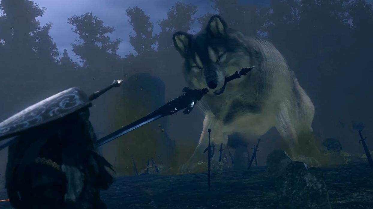 A screenshot of a giant dog resembling a Husky. It is six meters tall and is carrying a correspondingly huge sword in its mouth. It is crouched to attack, and the ground before it is littered with the discarded weapons, armour, and bodies of its previously defeated opponents.