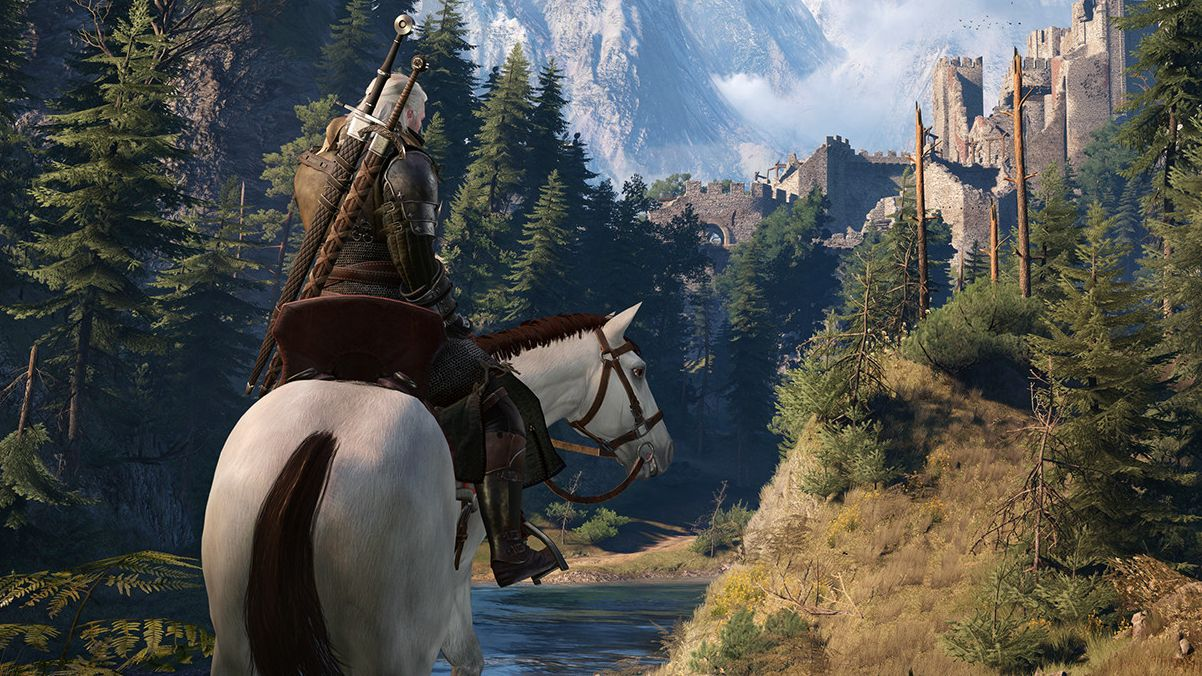 A screenshot from The Witcher 3 showing Geralt of Rivia astride a white horse. A horse is not a dog.