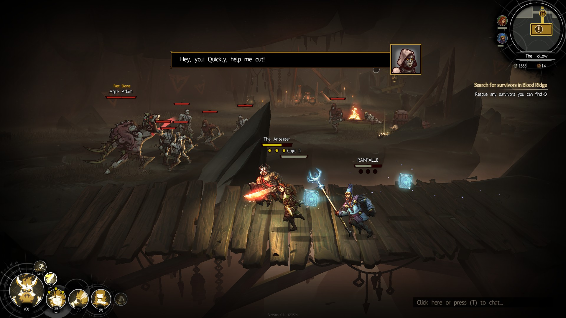 Three players run left across a wooden bridge. In the distance, someone asks for help, menaced by a dozen monsters.