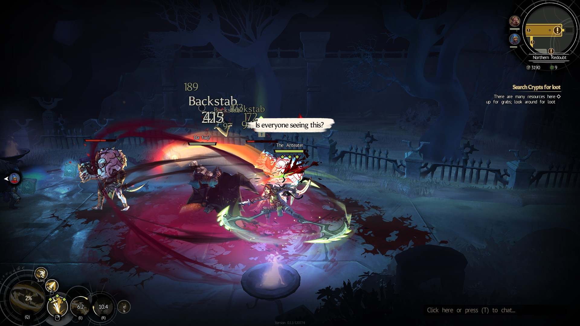 "An assassin slashes at a group of enemies who are hard to see because so many damage indicators are flashing up. Her speech bubble asks ""Is everyone seeing this?"""