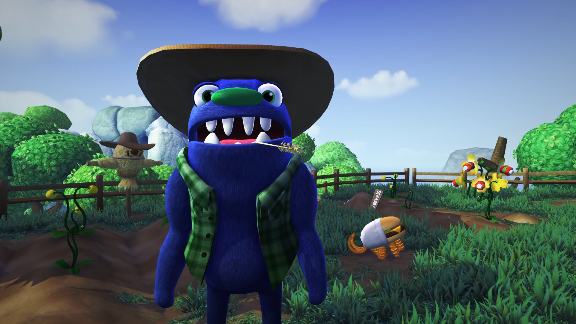 A purple fuzzy farmer with a straw hat, chewing a stalk of wheat, talks to the camera. In the background is a field with a wooden fence, inside which a burger with curly fry legs capers about.