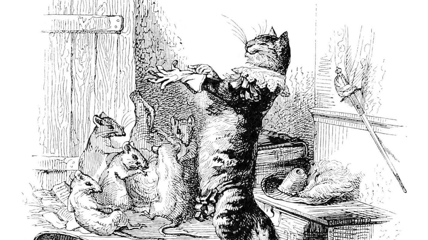 A black and white illustration called 'Cat In Gloves' by J Grandville. It shows a smug looking tabby cat standing on its hind legs, pulling on a pair of human gloves.