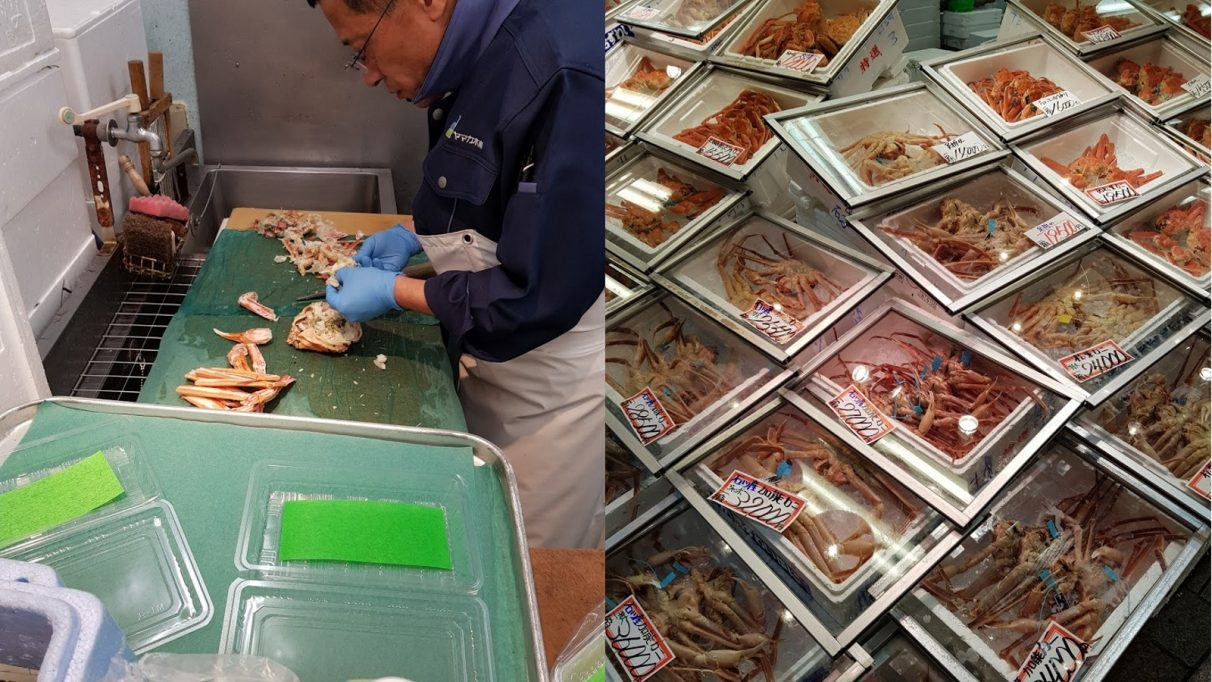 Photo montage: a man expertly prepares crab in one image, while boxes of delicious crabs are stacked high in the other.