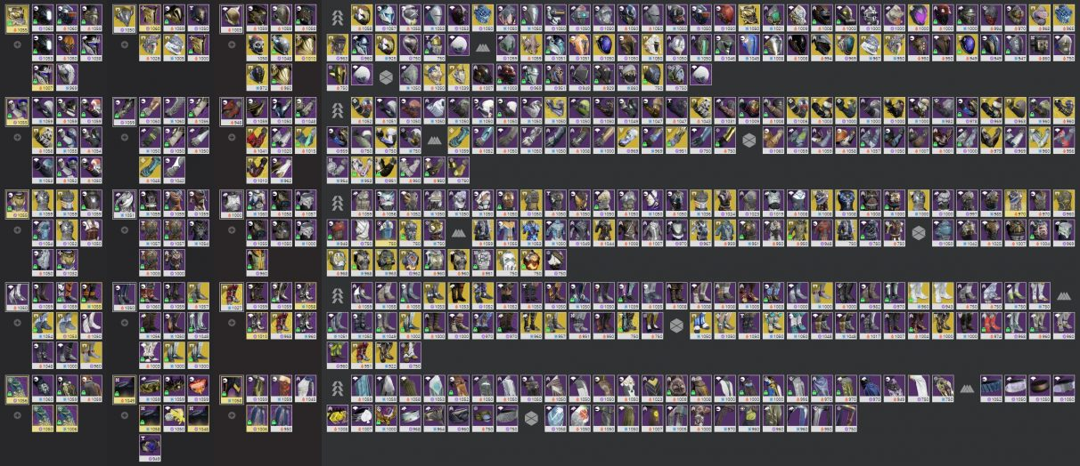 A messy Destiny inventory, as seen on the Destiny Item Manager.