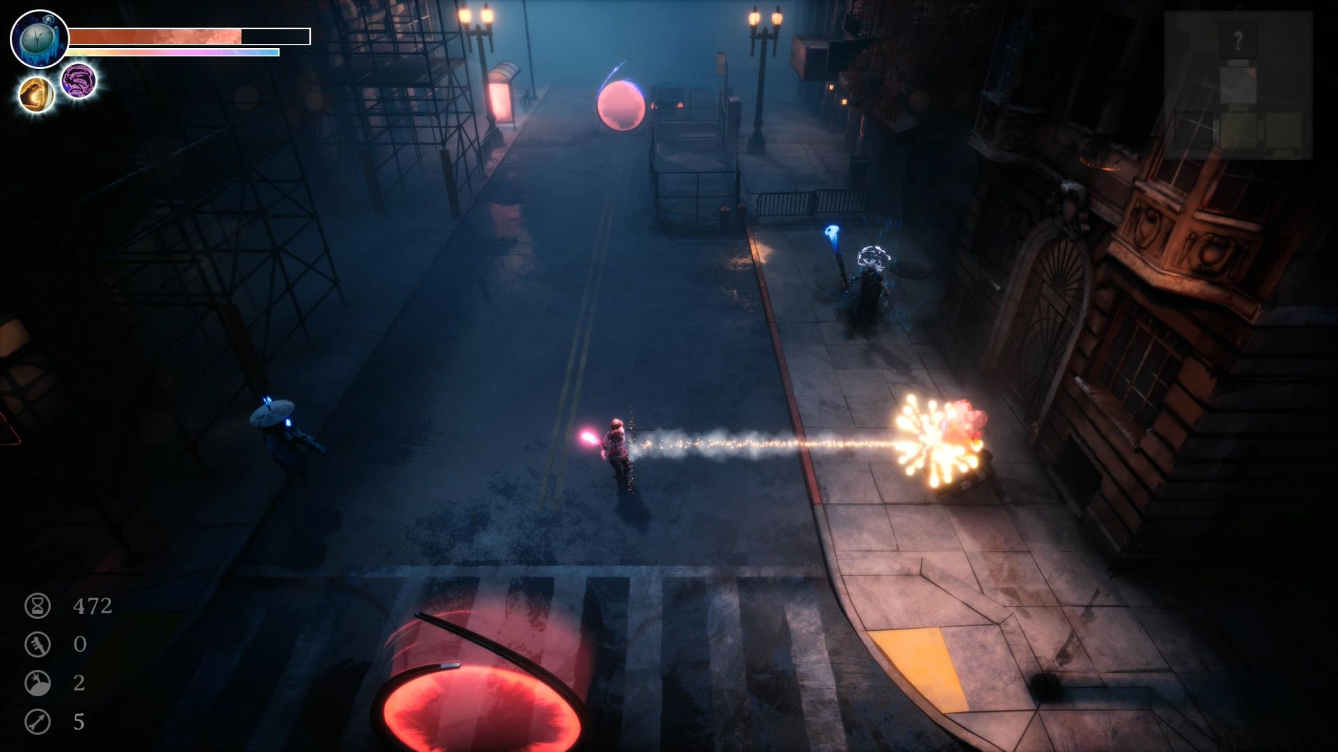 A screenshot of a dark street in Dreamscaper. The player character is has shot a bottlerocket at an enemy, and it has exploded into lots of twinkling lights.
