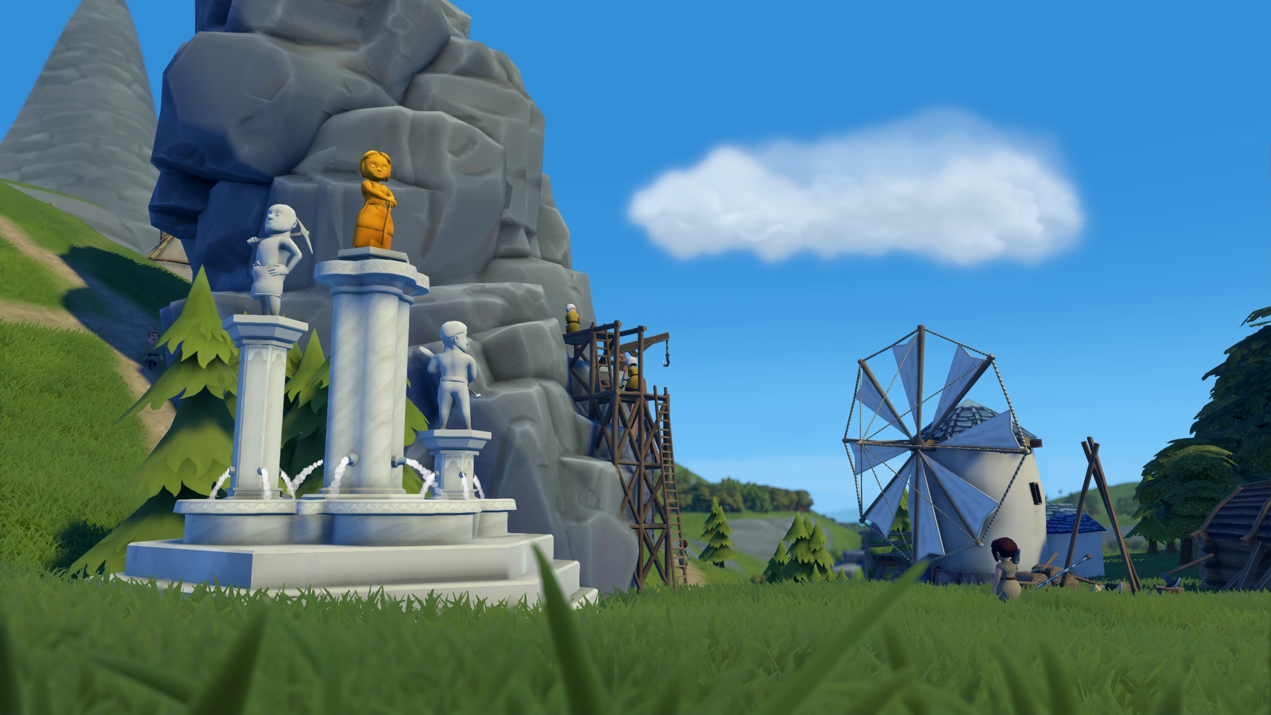 A screenshot of an impressive, three tiered statue from Foundation, celebrating the achievements of workers in the village. The figures on the statue are of a man with a mining pickaxe, a women with an axe and a man with a shovel. Small fountains adorn the base of the statue.