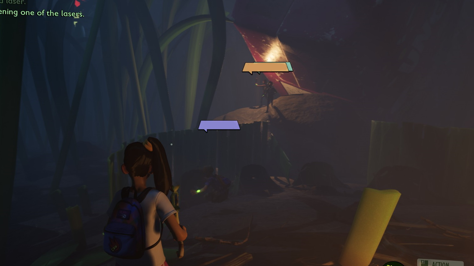 Third person shot of a player character who looks across a dark camp. In the middle distance, Dave stands on a boulder, holding a torch, and looking out for spiders.