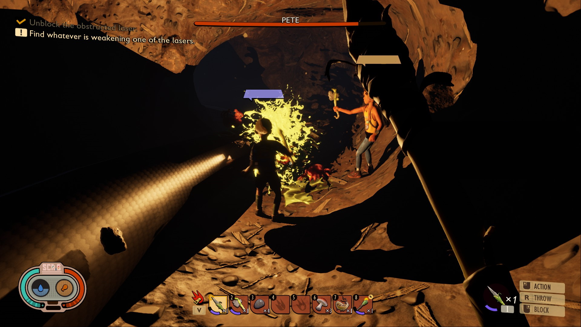 I watch as another player jabs a spear at a bug, which is exploding in green goo. Another player stands nearby, illuminating the tunnel we're in with dramatic shadows.
