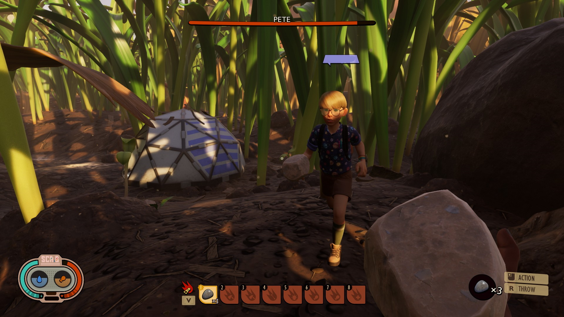 Another player stands in mid-stride, surrounded by tall grass and a small artificial dome. I am holding a rock.