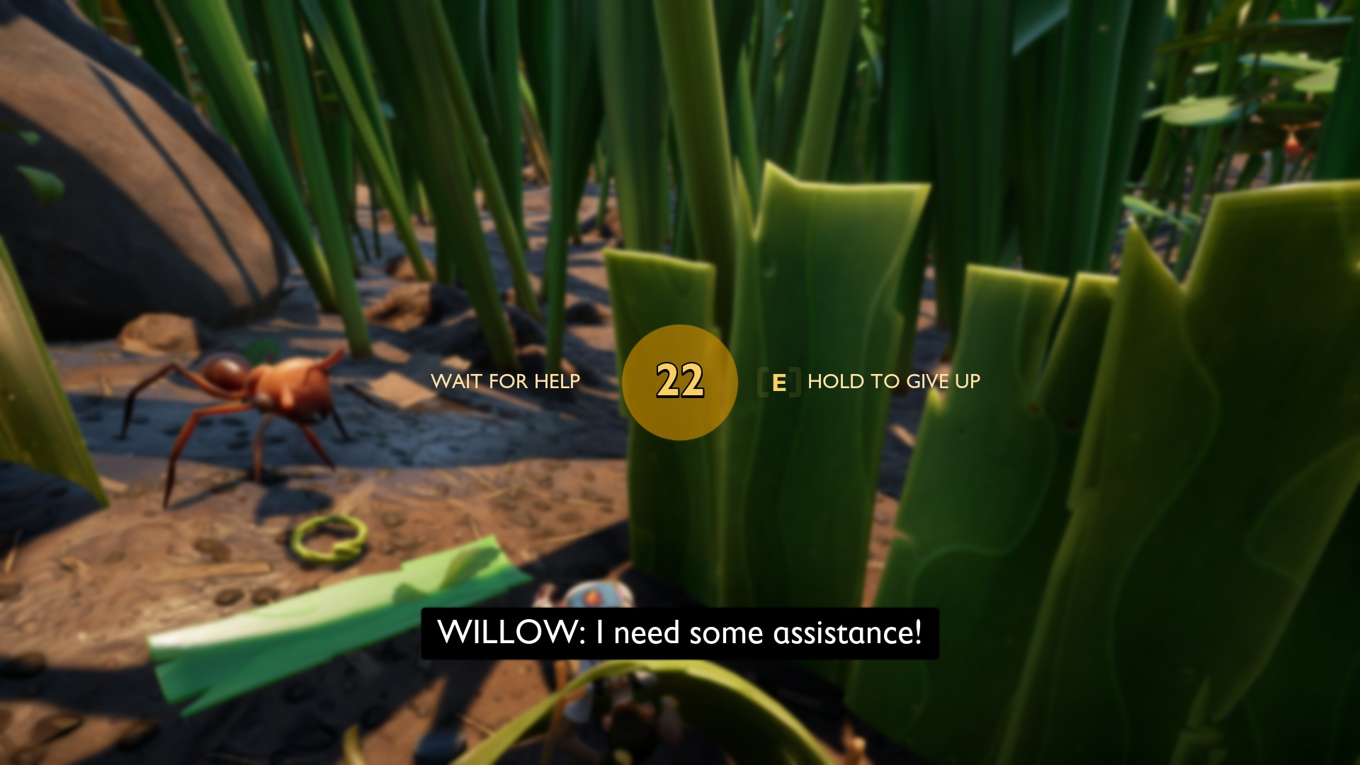 "Player lies on the floor, crying ""I need some assistance!"" while numbers count down a ""wait for help / E to respawn"" timer. An ant watches dispassionately."