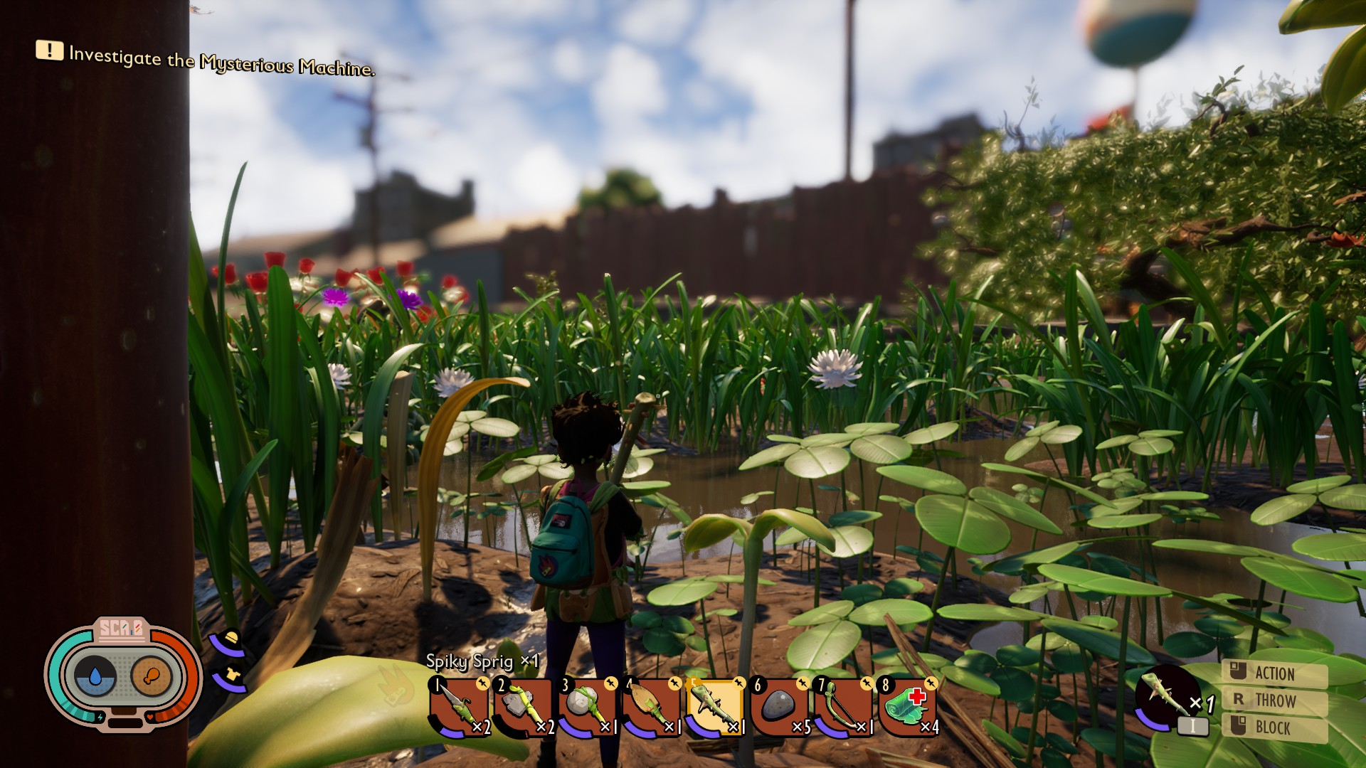 The player looks out from a patch of clover, over a brackish pond.