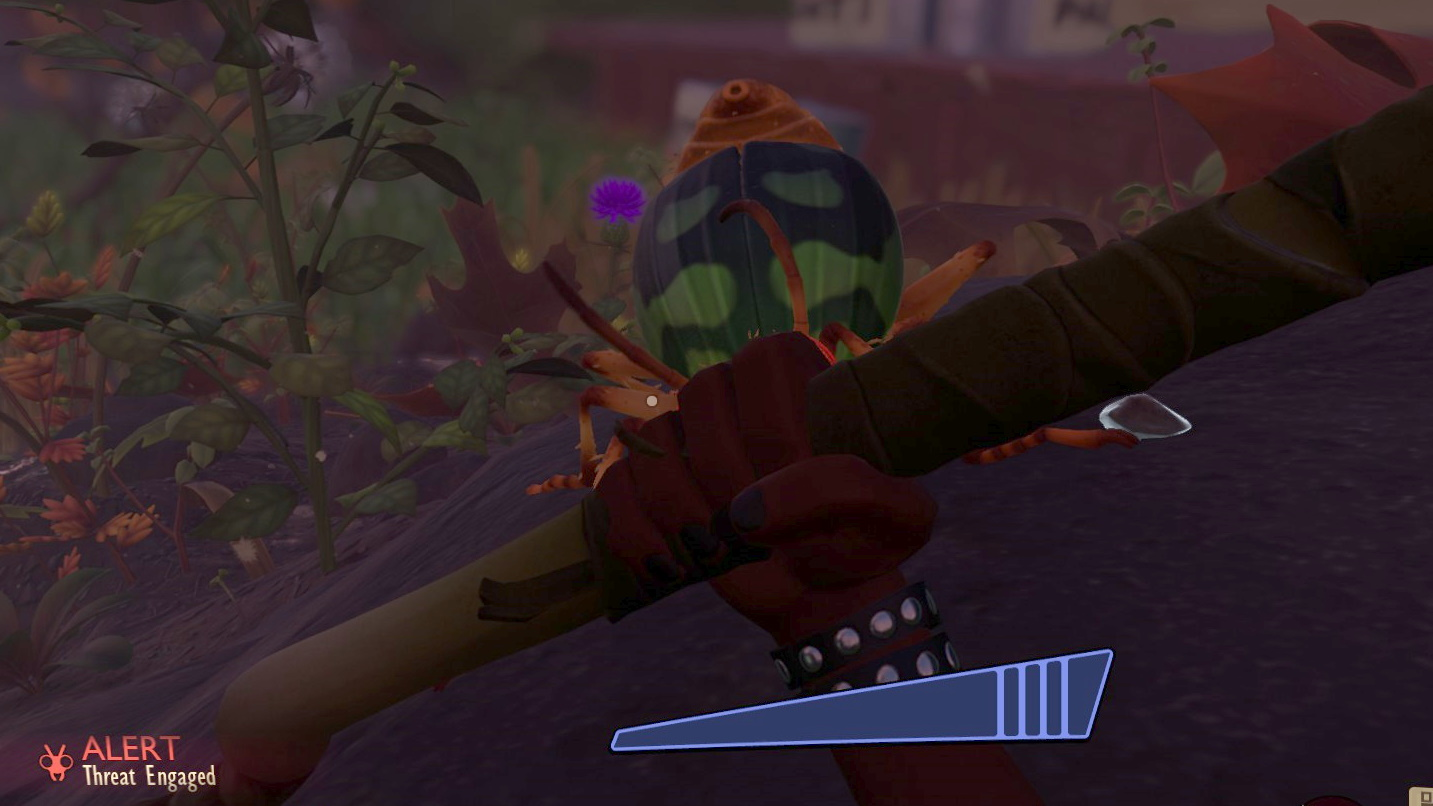 First person view. The player holds a spear in a defensive stance, obscuring a huge attacking beetle.