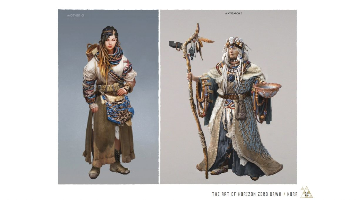 Two images from Horizon Zero Dawn's art book, showing tribal outfits made from woven textiles and machine bits.