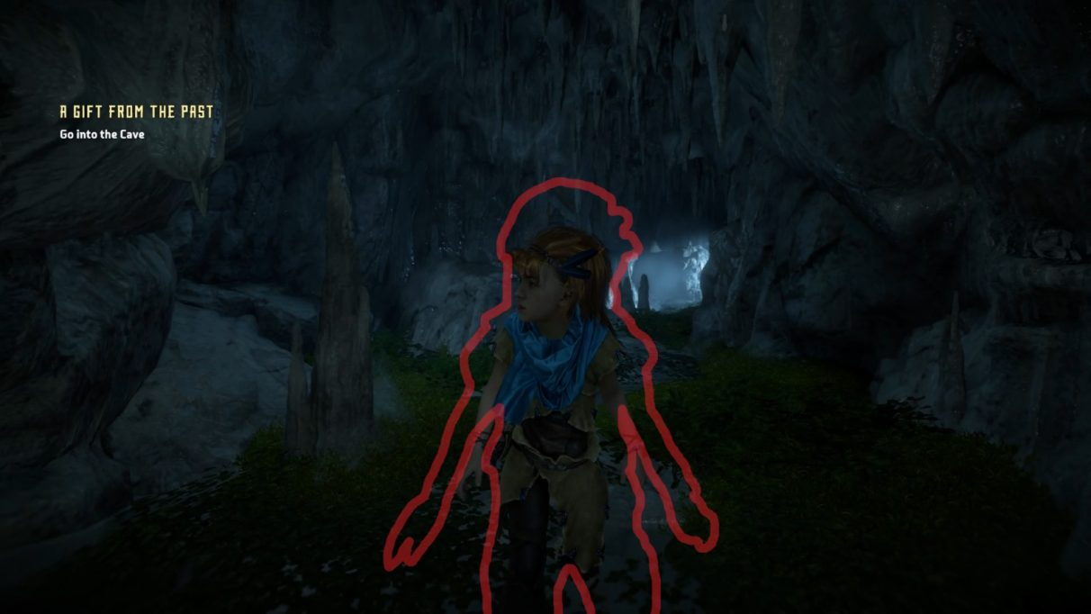Aloy as a youngster, surrounded by a red outline of her as a bigger youngster, in a cave.