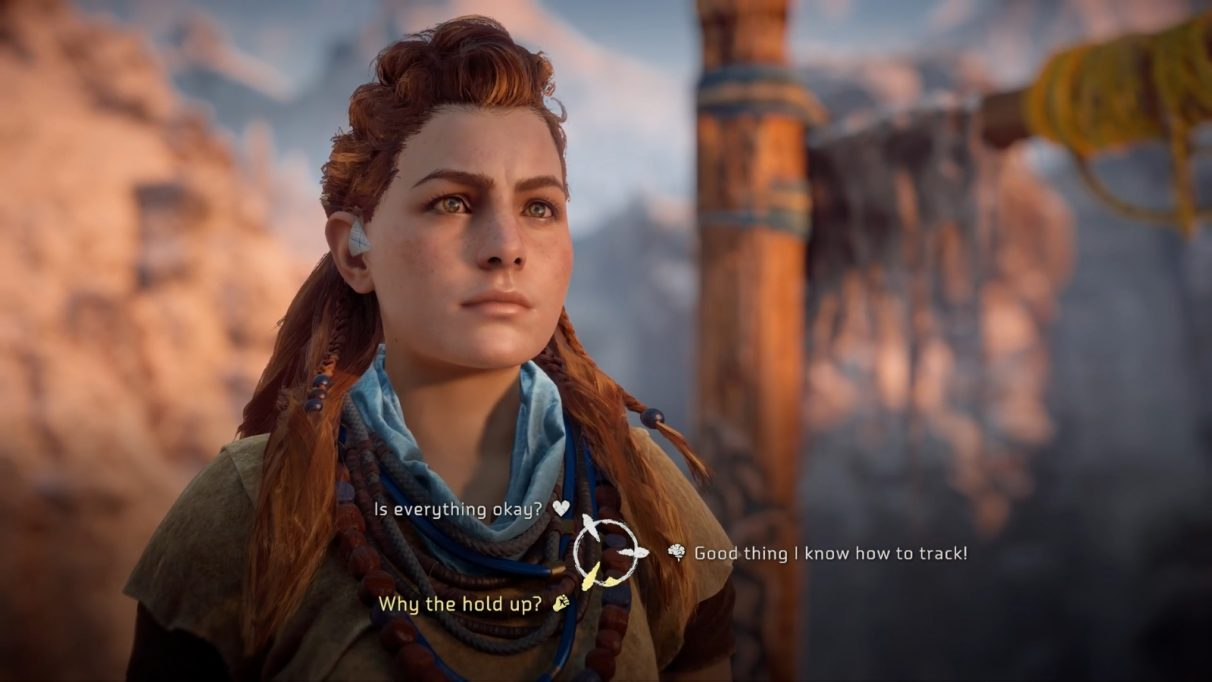 Aloy is presented with three dialogue options, each representing a different way of saying the same thing in either a thoughtful, aggressive or compassionate way.