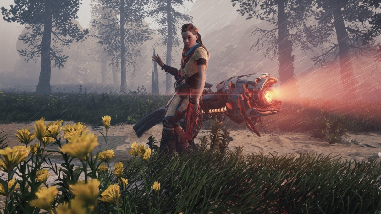 Aloy posing next to some sort of camera-faced war ostrich.