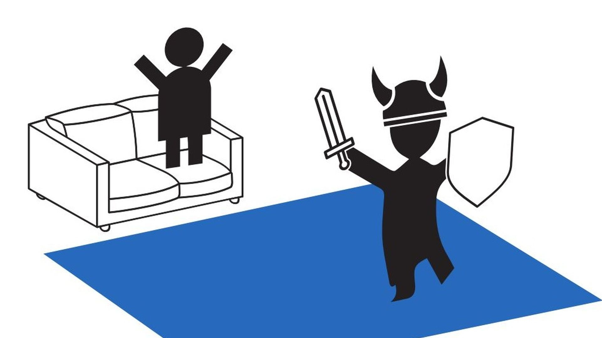 An illustration of two stickmen playing VR. One is on a sofa, watching the other pretend to be a viking