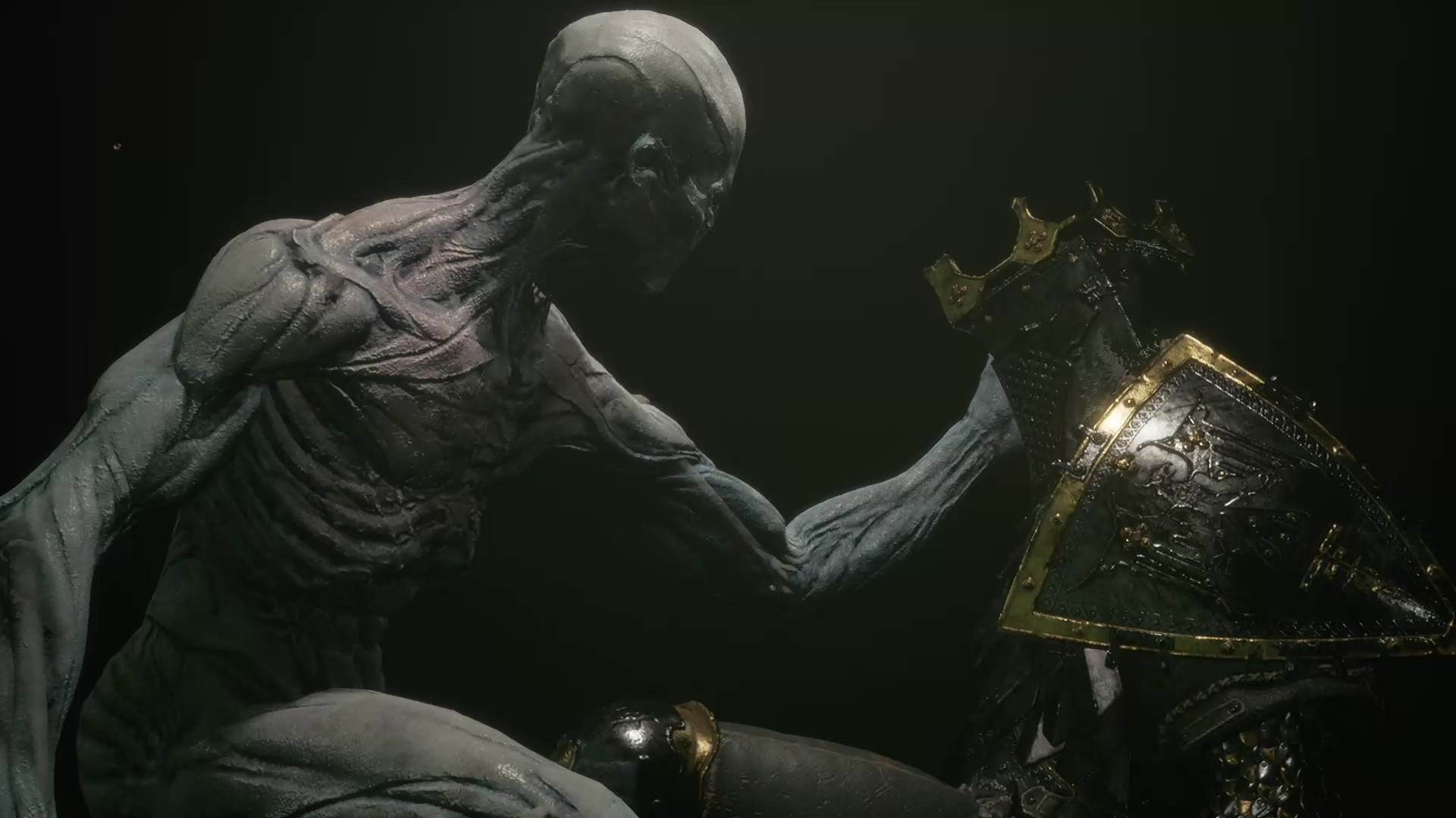 Player character extends its hand out to Eredrim's Shell.