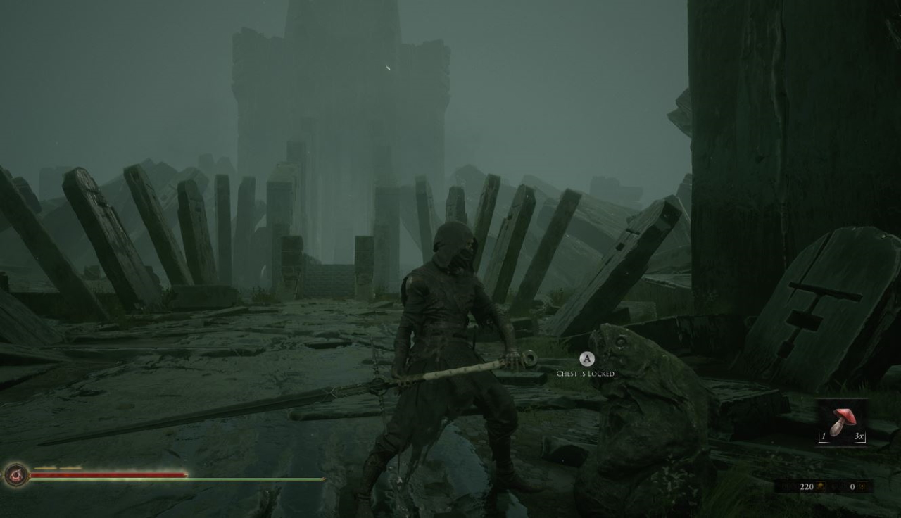 The player character stares at a strange, fish shaped chest which is locked.