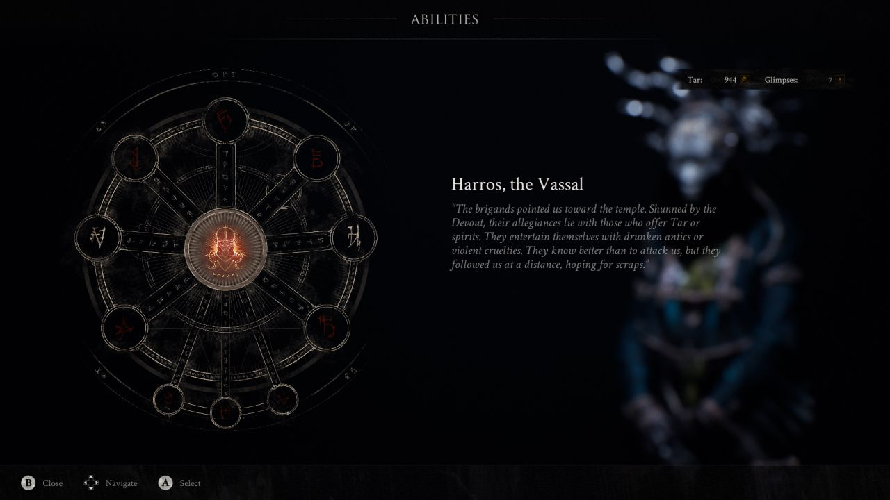 A screenshot from Mortal Shell showing the unlockable ability screen for the Shell armour of Harros, the Vassal. This is represented by a circle of interconnected runes, some of which are lit up.