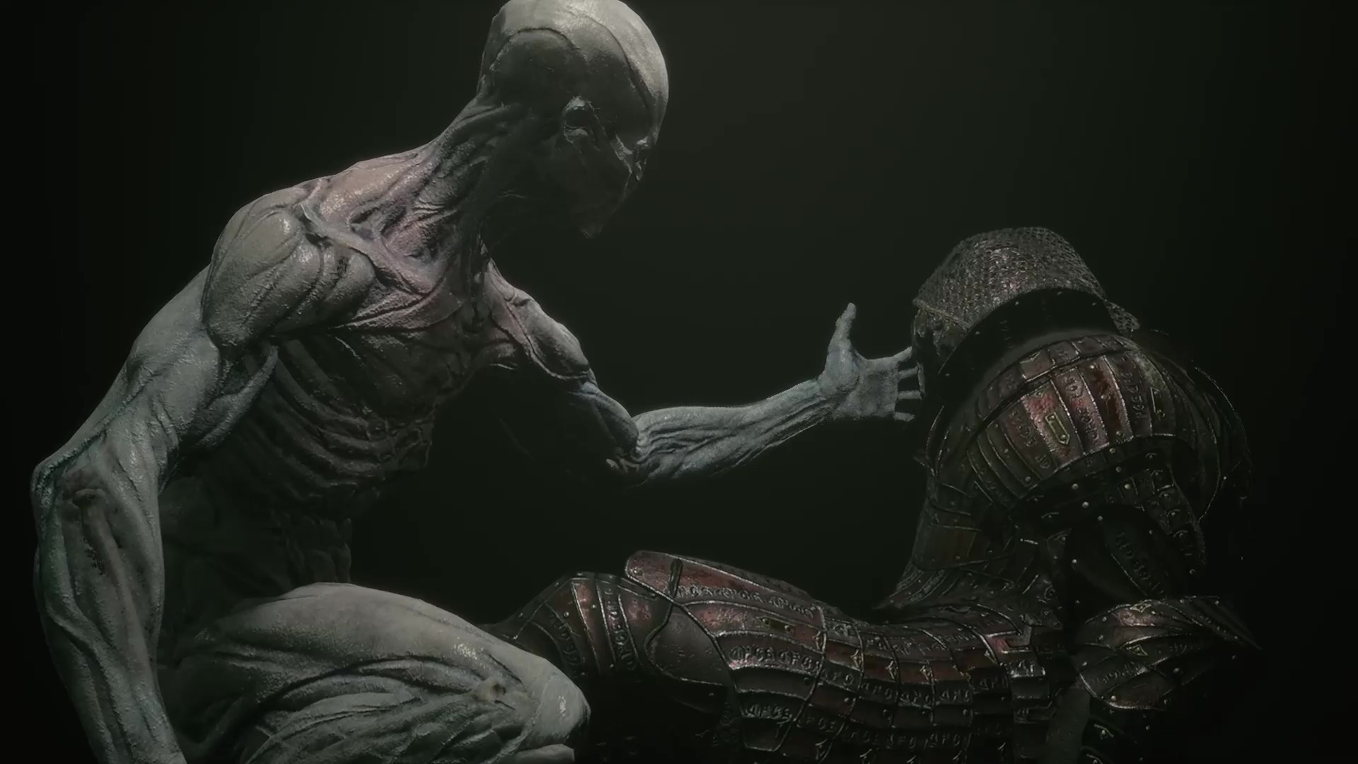 Player character extends its hand out to Solomon's Shell.
