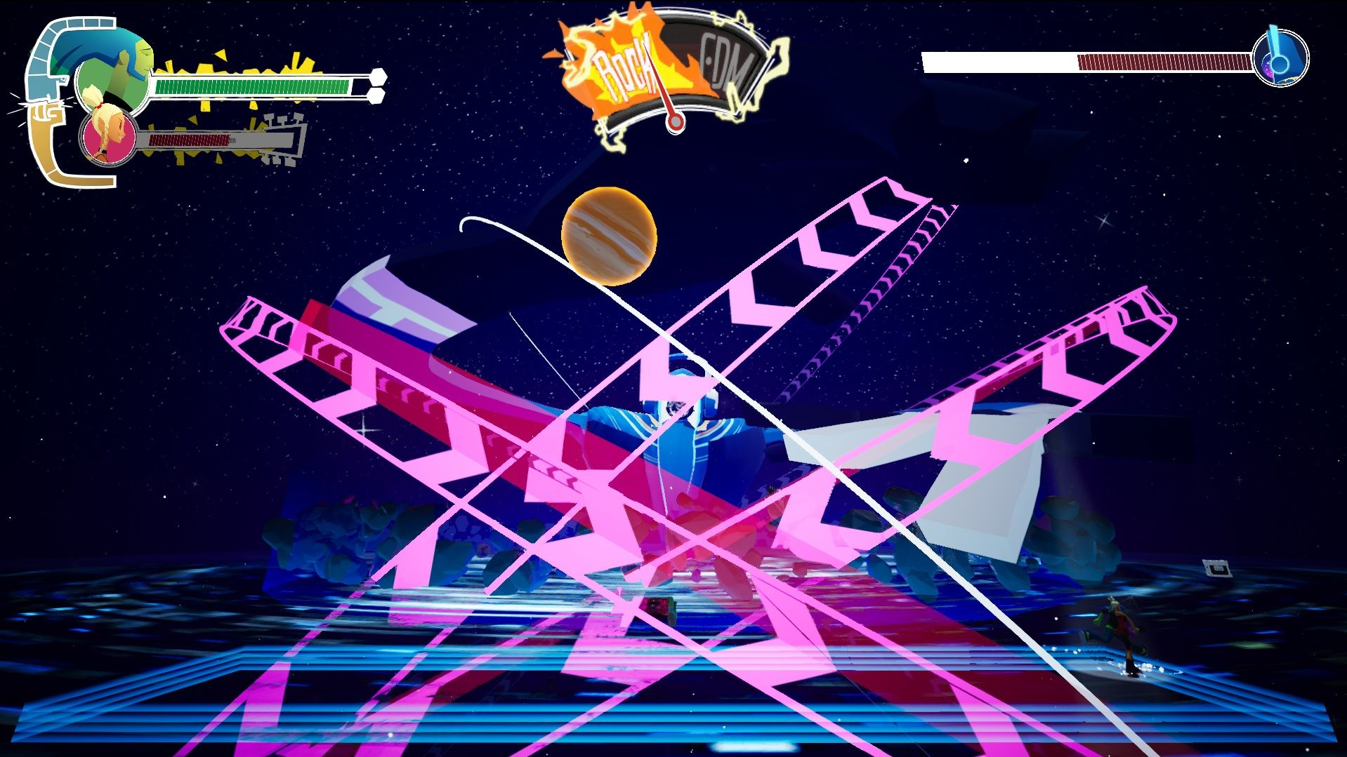 A screenshot of the first boss fight in No Straight Roads. In the centre of the screen a large robot with a disco ball for a head is making other disco balls in the shape of the planets spin around him, as if he were the centre of the universe. The players must avoid their path, telegraphed by pink arrows.