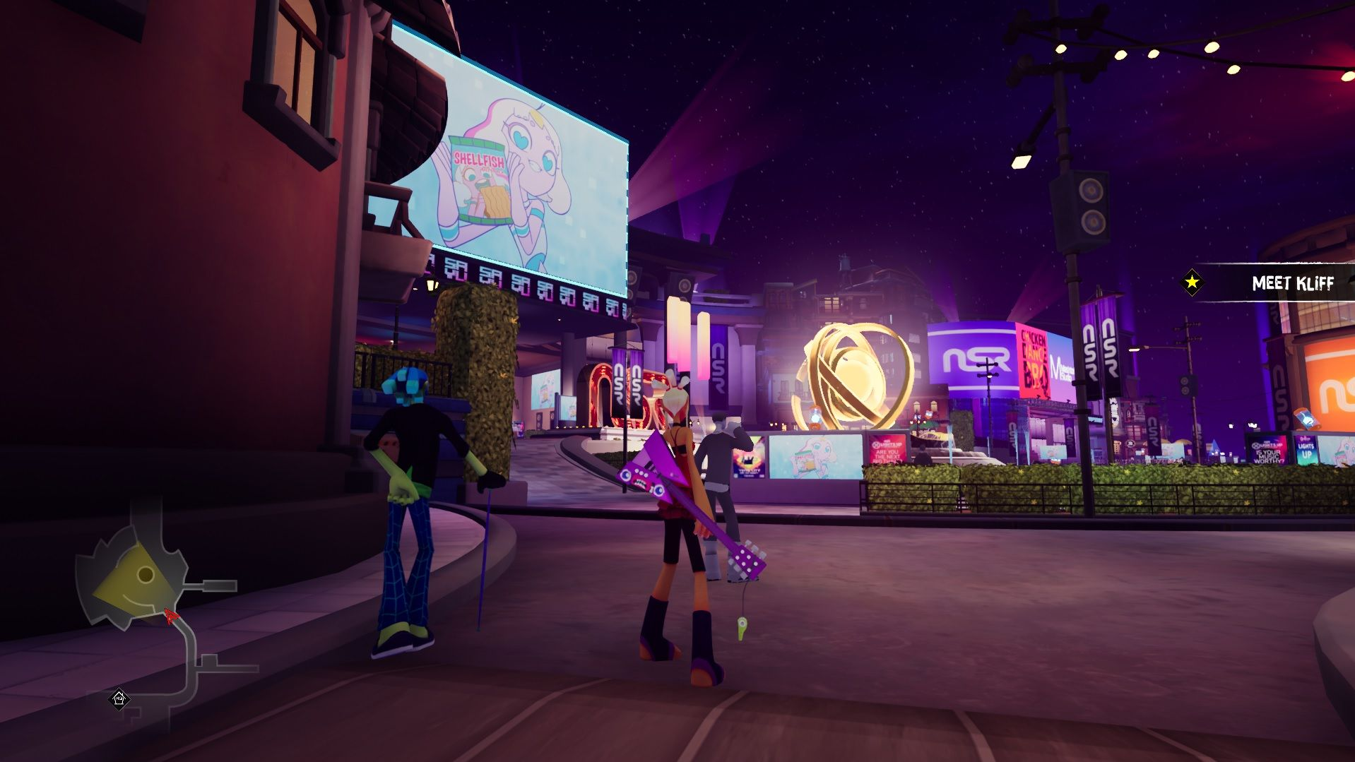 A screenshot of the city hub area in No Straight Roads. Vinyl City is futuristic, with a lot of add screens. There is a big golden sculpture that looks a bit like an atom spinning in the centre of an open plaza