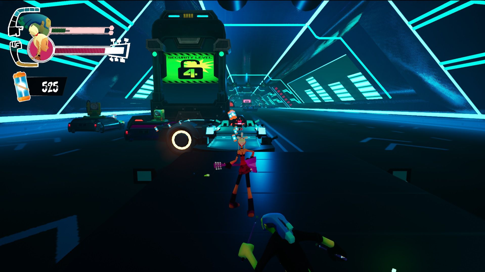 A screenshot of a platforming section from later in No Straight Roads. The player, as Mayday, is standing on a platform styled as a black limousine, in what looks like an underground tunnel full of other limos.