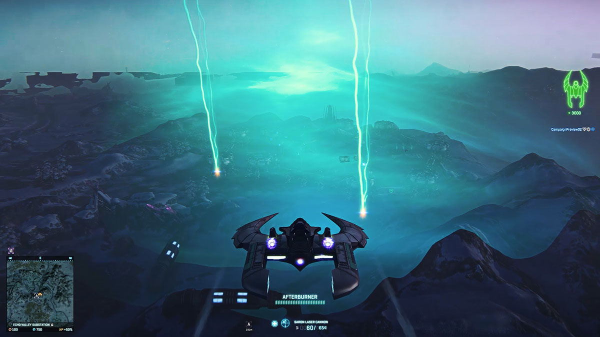 A third person view of a scythe interceptor as it flies over a storm. A sort of hazy geen outline is visible, as are two tall vertical lightning strikes hitting the ground.