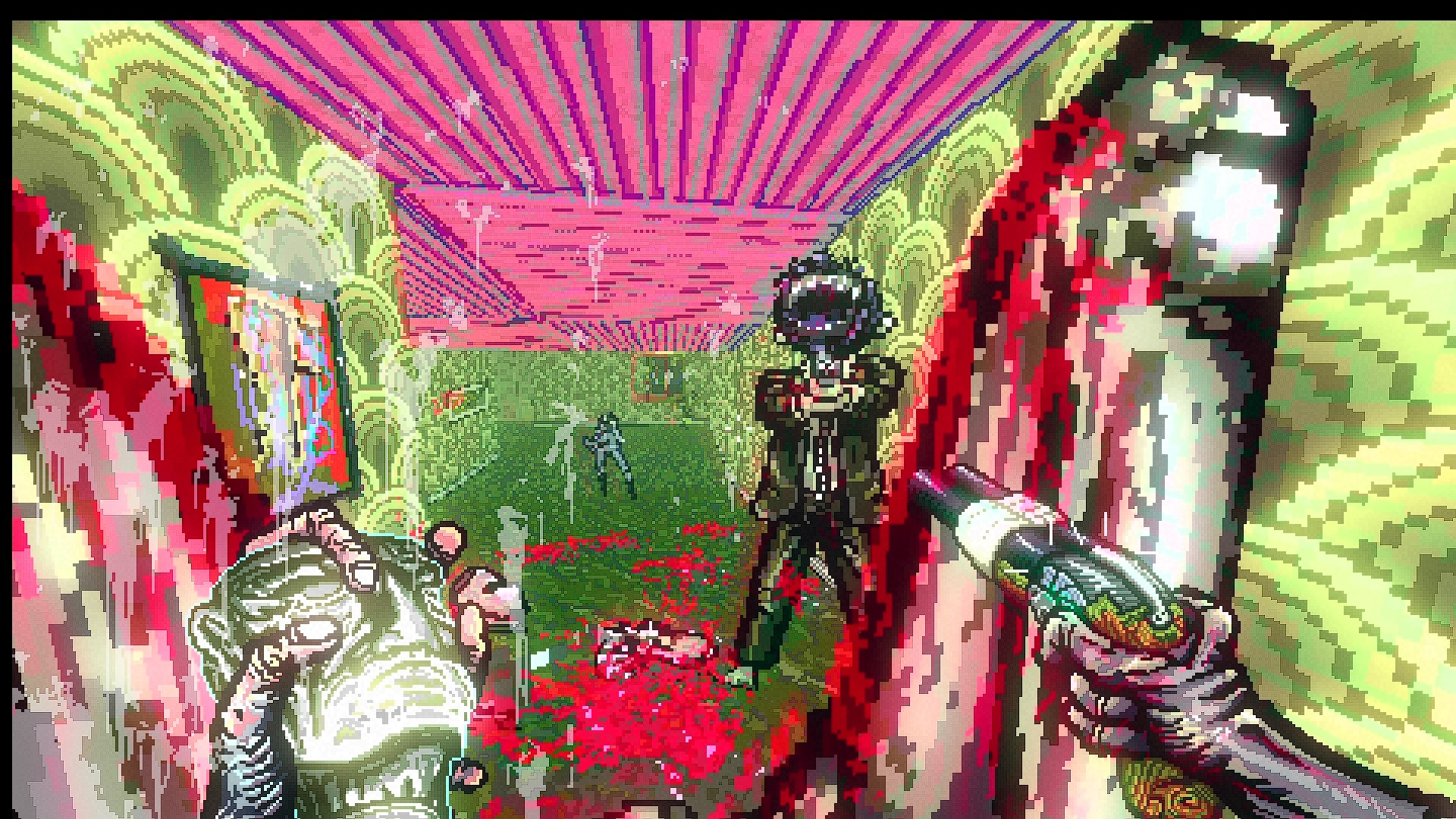 A gory (though it's so heavily stylised in 2.5D that it's not tacky) scene. A huge bloody leg leans on the right wall. Behind it there's blood and gibs on the floor, and a monster in a suit points a gun at the player. The walls are green, the ceiling pink.