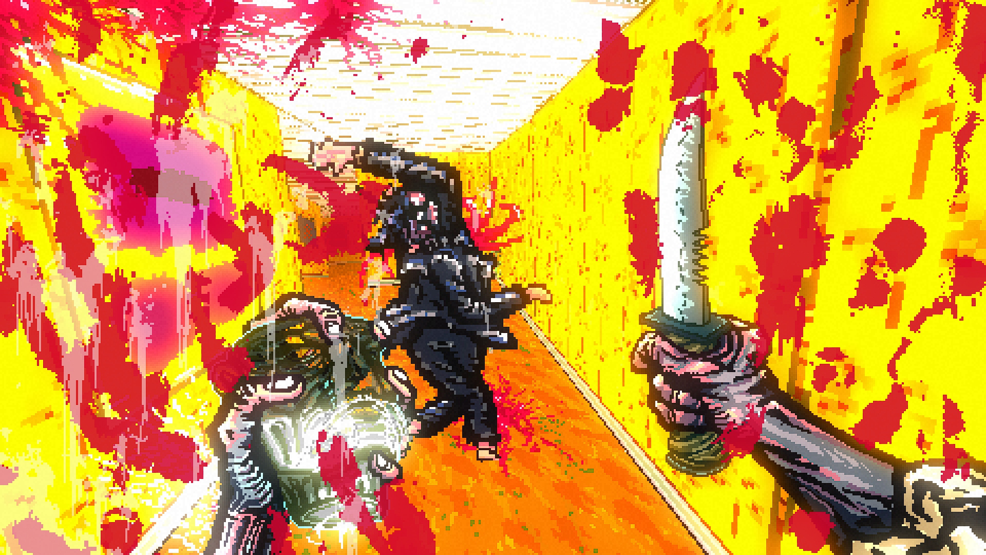 A first person view, the camera splattered with blood, a human-ish shape ahead spinning around, mortally wounded. In my right kand is a large knife.